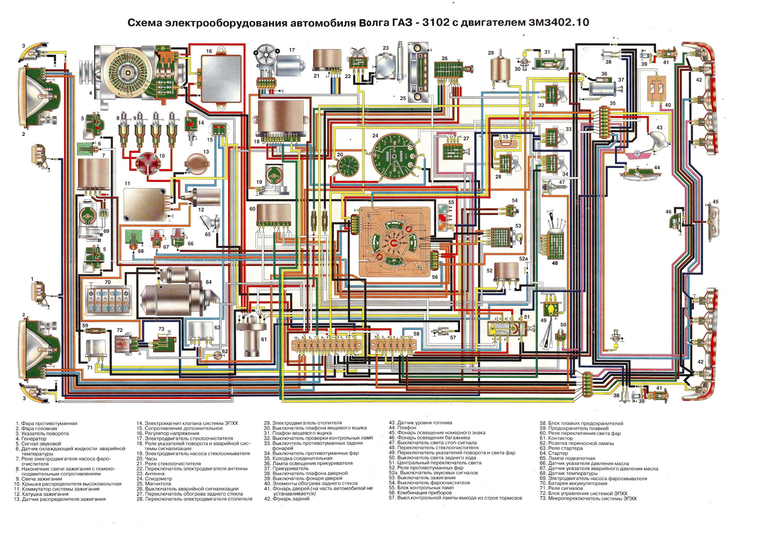 Газ 53 электрическая схема цветная